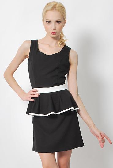 LAB ARIEL REMOVABLE PEPLUM DRESS BLACK  S$32.00